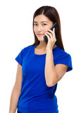 Woman talk to mobile phone Stock Photos