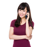 Woman talk to mobile phone Stock Photography