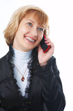 Woman talk to phone Stock Photography