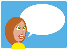 Woman talking. Vector illustration Comic character Woman talking Vector Illustration