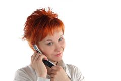 Woman Talking By Mobile Phone Royalty Free Stock Images