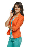 Woman talking on cellphone Stock Photography