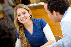 Woman talking with friends Royalty Free Stock Photo