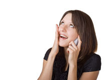 Woman talking on her cell phone Royalty Free Stock Image