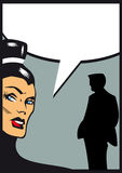 Woman talking with man silhouette illustration in comic style Royalty Free Stock Images