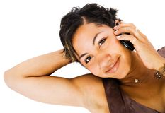 Woman talking on mobile Royalty Free Stock Photography