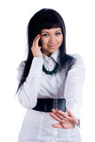 Woman talking by mobile Stock Photo