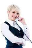 Woman talking by mobile Royalty Free Stock Images