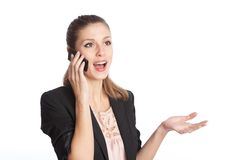 Woman talking on a mobile phone stock images