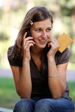 Woman  talking on mobile phone Royalty Free Stock Photography
