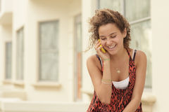 Woman talking on a mobile phone Royalty Free Stock Photo