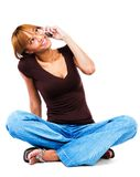 Woman talking on mobile phone Royalty Free Stock Images