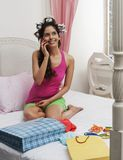 Woman talking on a mobile phone Stock Photography