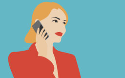 Woman talking on the mobile phone illustration. Flat design vector illustration in retro colors of young beautiful woman holding modern mobile device and talking Stock Images