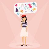 Woman talking on mobile phone. Speech Bubbles with icons love. Shopping, work, hobbies. Vector illustration of a communication concept, relating to feedback Stock Image