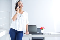 Woman talking on the mobile phone Royalty Free Stock Images