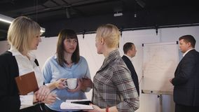 Woman talking about new business project on seminar in company stock video footage