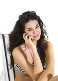 Woman talking over the phone Royalty Free Stock Photo