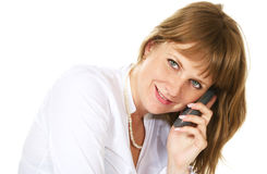 Woman talking with phone Stock Photos