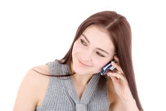 Woman talking by phone Royalty Free Stock Photos