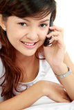 Woman talking on the phone Stock Image