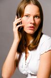 Woman is talking phone Stock Photo
