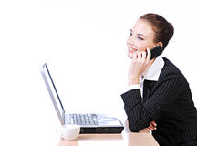 Woman talking on a  phone Royalty Free Stock Image