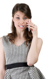 Woman talking on the phone and is angry on the interlocutor. Woman talking on the phone and scolds companion Stock Images