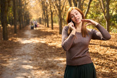 Woman talking on the phone in the autumn park Stock Image