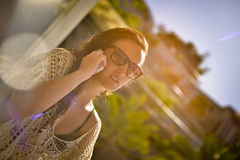 Woman talking on the phone. Stock Photo