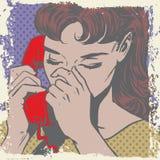 Woman talking on the phone sad pop art comics Royalty Free Stock Photo
