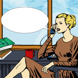 Woman talking on phone with speech bubble Stock Photography