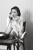 Retro office worker with surprised expression Stock Images