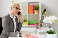 Woman talking on the phone and working on computer Stock Image