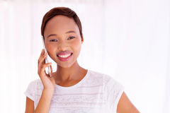 Woman talking smart phone Royalty Free Stock Images