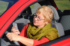 woman talking on tablet phone Stock Images