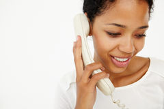 Woman talking on telephone Royalty Free Stock Photography