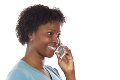 Woman talking on the telephone Royalty Free Stock Photos