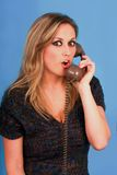 Woman talking in telephone very pretty. Telephone, Screen, Blond, surprise, Hair, Face, Eye, Human Eyes, Women, Child, Young Adult, Beautiful stock photos