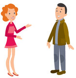 Woman talking to man. Happy faces. Stock Images