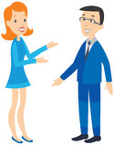 Woman talking to man. Happy faces. Stock Image