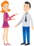 Woman talking to man. Happy faces. Royalty Free Stock Image