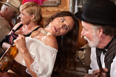 Woman Talks With Bartender Stock Photo