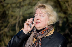 The woman talks on a cellular telephone Stock Photos