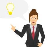 Woman talks about his ideas. Vector illustrations businessman tells a brilliant idea. Woman businessman discusses his idea stock illustration