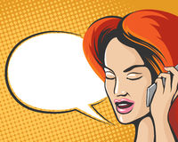 Woman talks mobile phone Royalty Free Stock Images