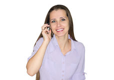 Woman talks by  phone Stock Image