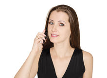 Woman talks by  phone Royalty Free Stock Image