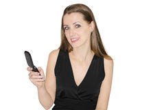 Woman talks by  phone Royalty Free Stock Images
