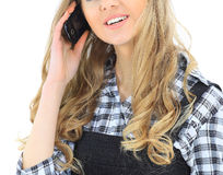 Woman talks on the phone. Stock Images